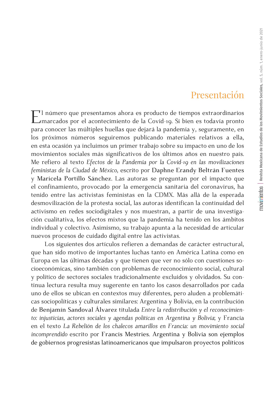 Presentación del Vol. 5 Núm. 1 (2021)